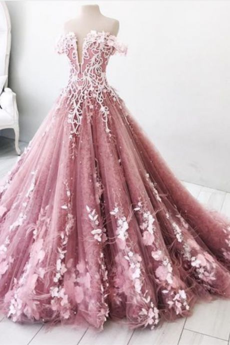 Dreamy pink off shoulder prom dresses, gorgeous beaded evening gowns with