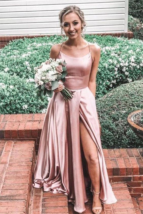 Pink Spaghetti Straps Long Prom Dress M8838
