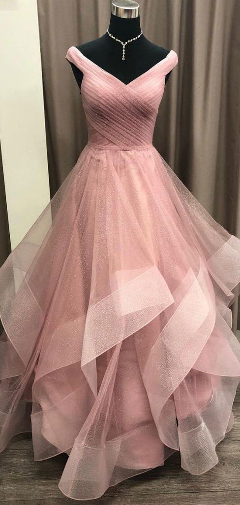 A-line Off-the-shoulder Dusty Pink Long Prom Dress Tulle Formal Gowns M8840