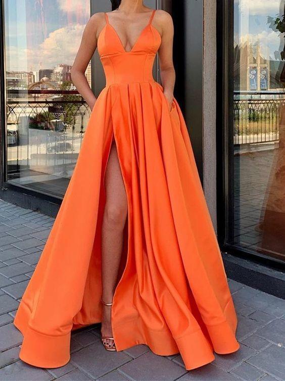 A-line V Neck Orange Long Prom Dress M8841