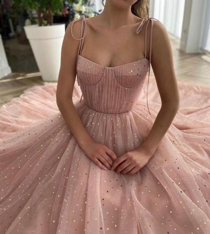 Baby Pink A-line with draped top and decorative straps shiny prom dress M8842