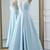 Light Blue Satin High Slit Simple Long Prom Dress, Blue Evening Dress Formal