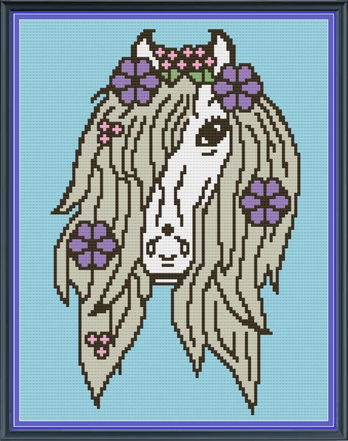 Pony Flowers-White-Mini C2C-100x130