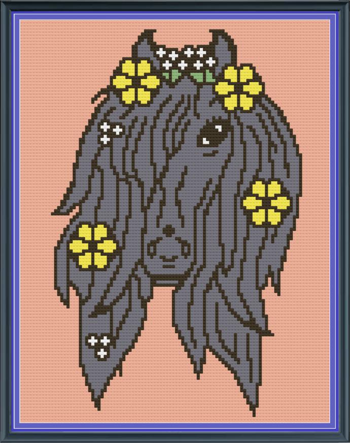Pony Flowers-Black-Mini C2C-100x130