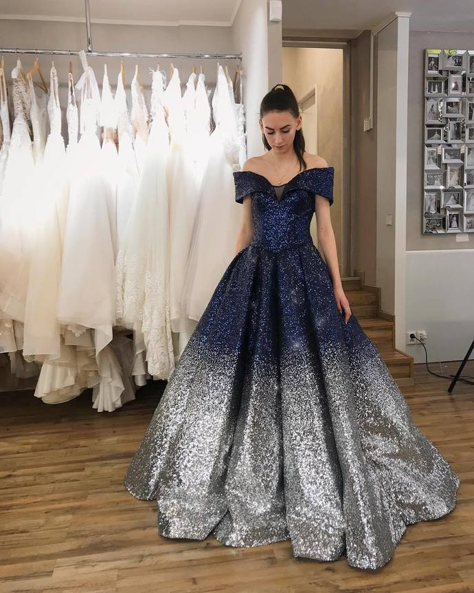 Ball Gown Sparkly Prom Dresses, Long Prom Dress, Prom dress,DR1964