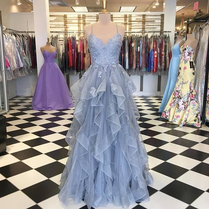 Spaghetti Straps Ball Gown Prom Dresses, Long Prom Dress, Ball Gown prom
