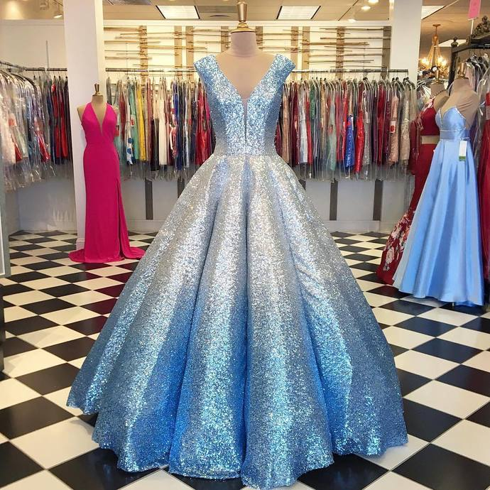 Ball Gown Prom Dresses, V-Neck Long Prom Dress, Ball Gown prom dress,DR1967