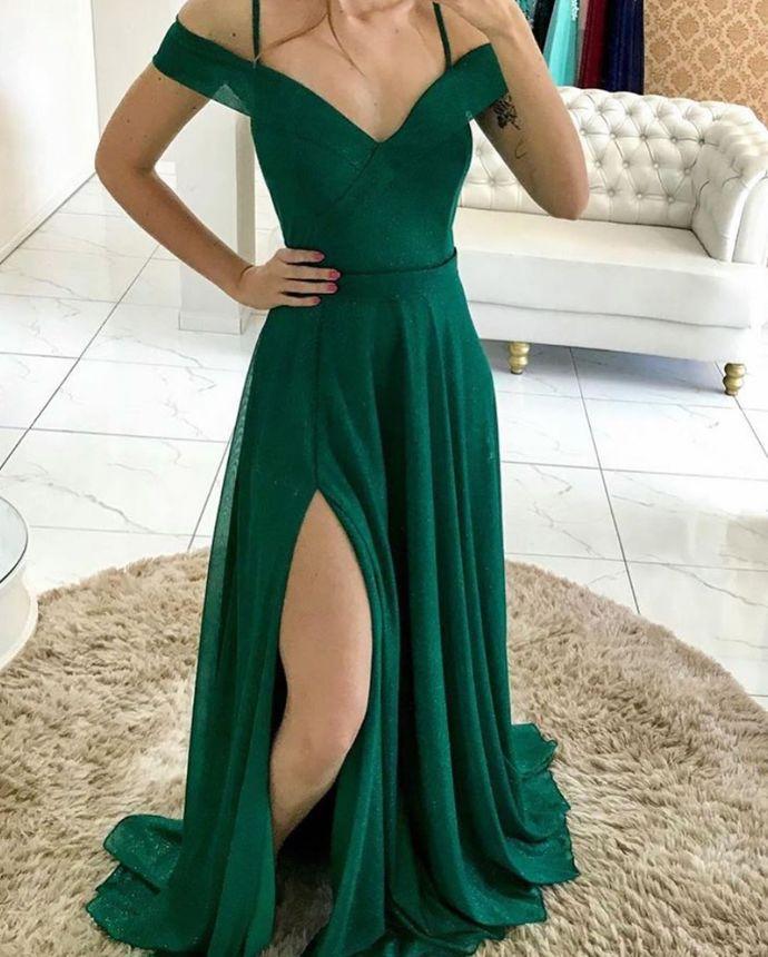 Deep Green Prom Dresses,Chiffon Real Made Formal Prom Dress,DR1976
