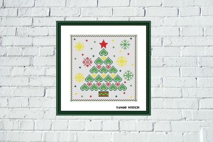 Heart Christmas tree snowflake cross stitch pattern