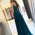 Teal Blue Long Chiffon Spaghetti Straps Lace Formal Dress,  Prom Party Gowns