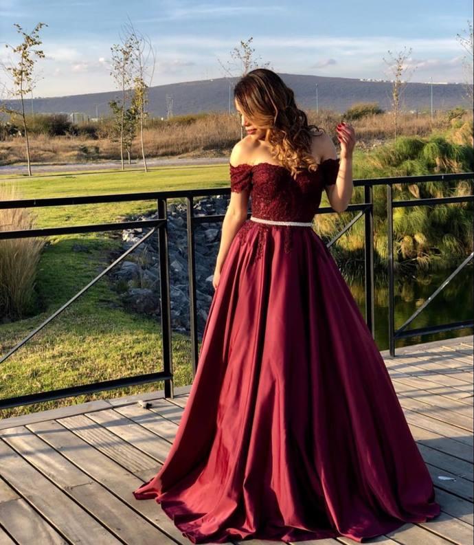 Burgundy Satin Off the Shoulder Evening Dresses, Lace Formal Dress Appliques,