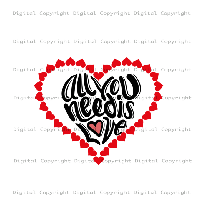 All You Need Is Love, Valentine SVG, Happy Valentines Day