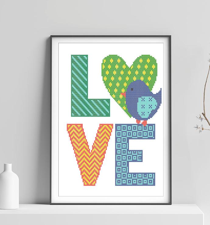 #262 Geometric text LOVE Modern Cross Stitch Pattern, cute bird counted cross