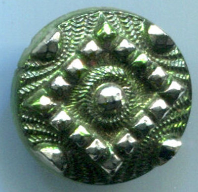 Antique Black Glass Button with Perfect Green Tint and Silver Luster