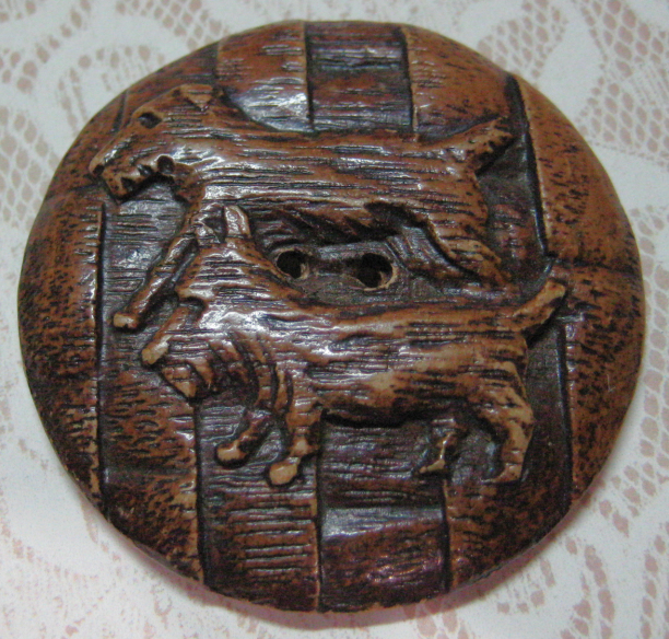 """Very Large Burwood Syroco with Two Dogs 1 & 3/4"""" across"""