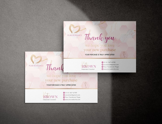 Personalized Pure Romance Thank You Card, Custom Pure Romance Thank You Card