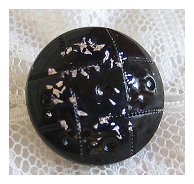 Antique Black Glass with Molded Top and Silver Foil Flecks