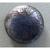 Antique Black Glass Button Steel Blue/Gray Patterned Foil