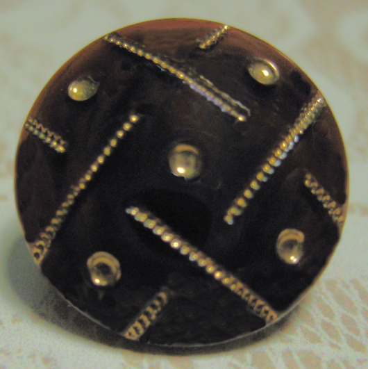 Antique Brown Glass with Molded Top and Gold Luster