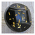 Antique Black Glass Button with Gold Foil Flecks, Faceted Center