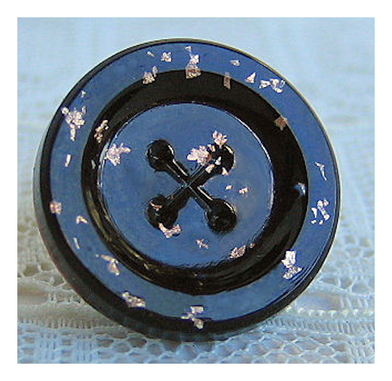 Antique Black Glass Button with Gold/Silver Foil Flecks, Imitation Sew Thru
