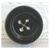 Antique Black Glass Button Painted Imitation Sew Thru