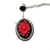 Red and black Gothic statement cameo necklace, black cameo with red rose in an