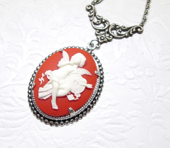 Rhinestone embellished red cupid cameo necklace, cupid cameo, cameo jewelry,