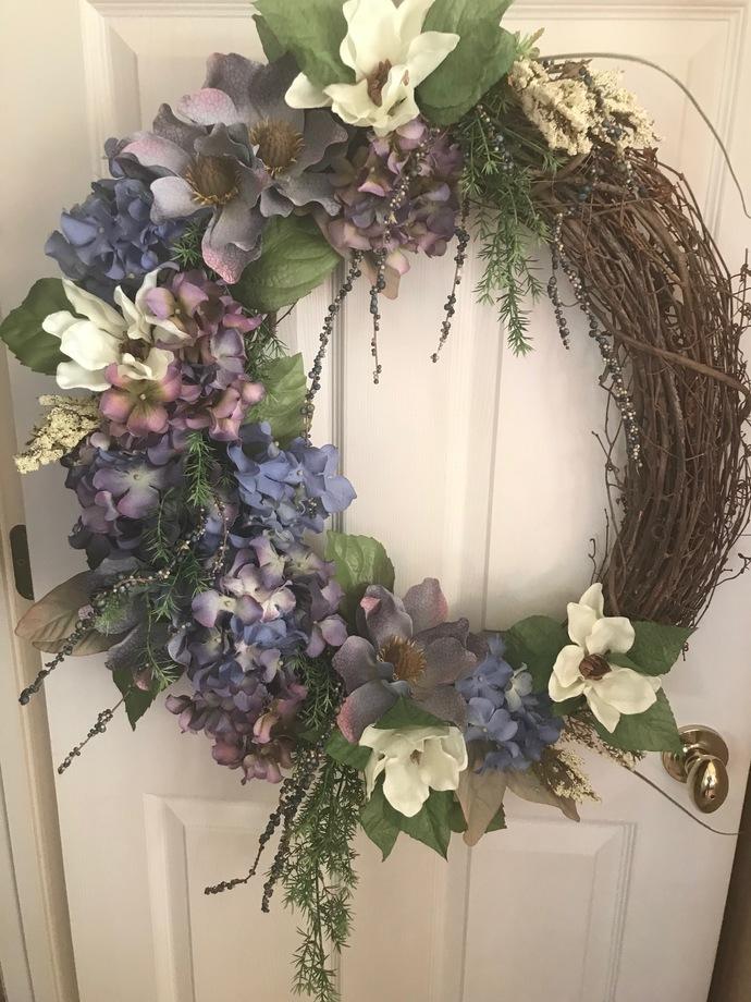 Hydrangeas and Magnolia magnificant front door wreath