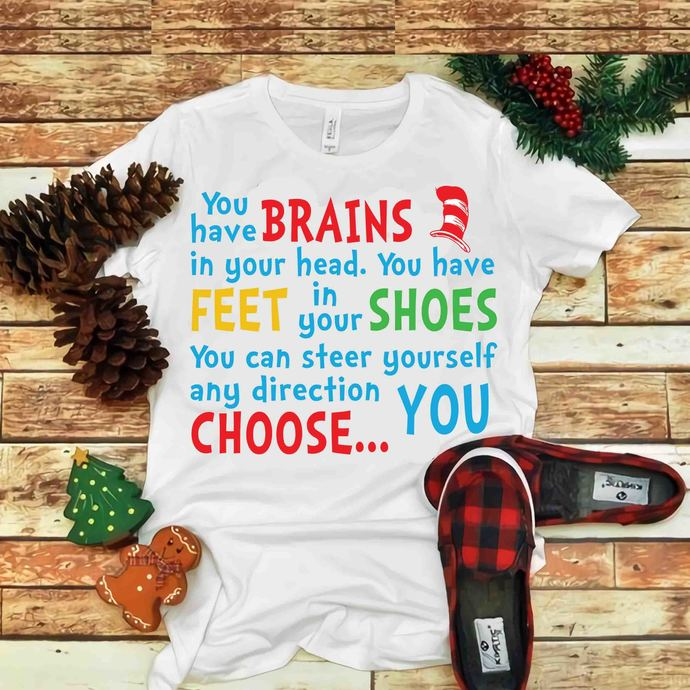 You have brains in your head Svg, You have feet in your shoes Svg, Dr seuss