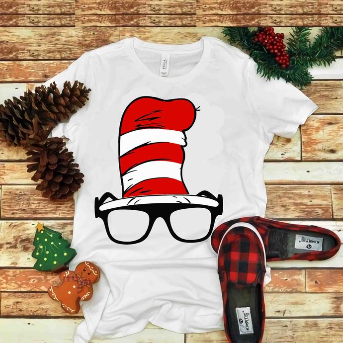 Glasses and Hat dr seuss Svg, Hat in Cat Svg, Dr seuss vector, Dr Seuss Svg, Cat