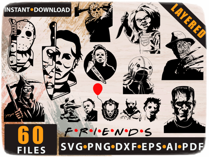 Horror Movie Characters svg, Horror movie killers svg, Horror Movie Villain svg,