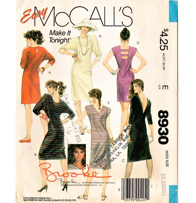 McCall's 8930 Brooke Misses Knit Dress 80s Vintage Sewing Pattern Size XSmall