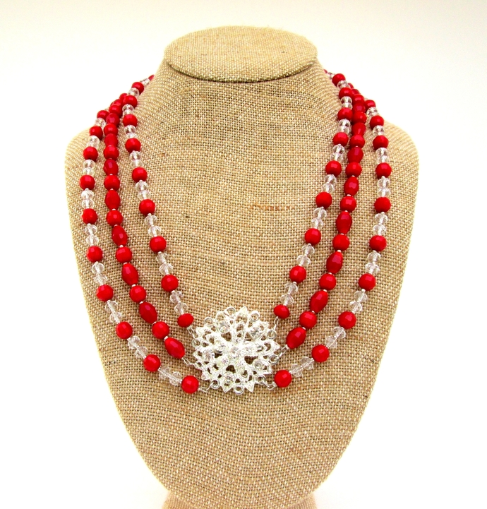 Valentine elegance. Special occasion crystal necklace, ready to ship. Valentine