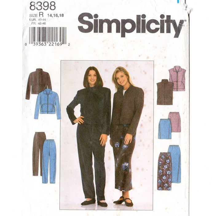 Simplicity 8398 Misses Jacket, Vest, Skirt, Pants 90s Vintage Sewing Pattern