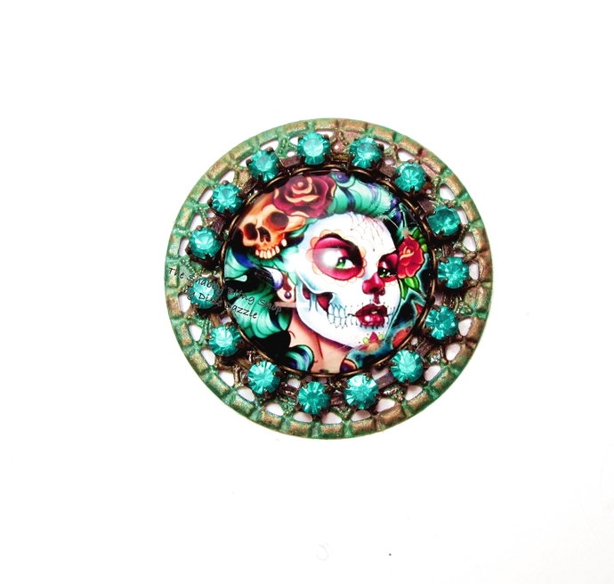 Gothic zombie pin brooch, skull cameo with rhinestones, goth valentine jewelry,