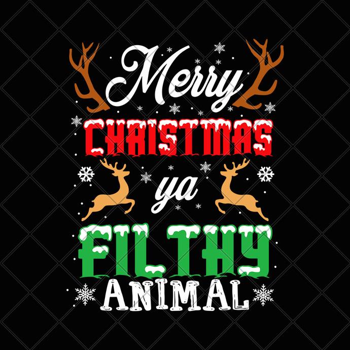 Merry christmas ya filthy animal svg, Merry christmas ya filthy animal,