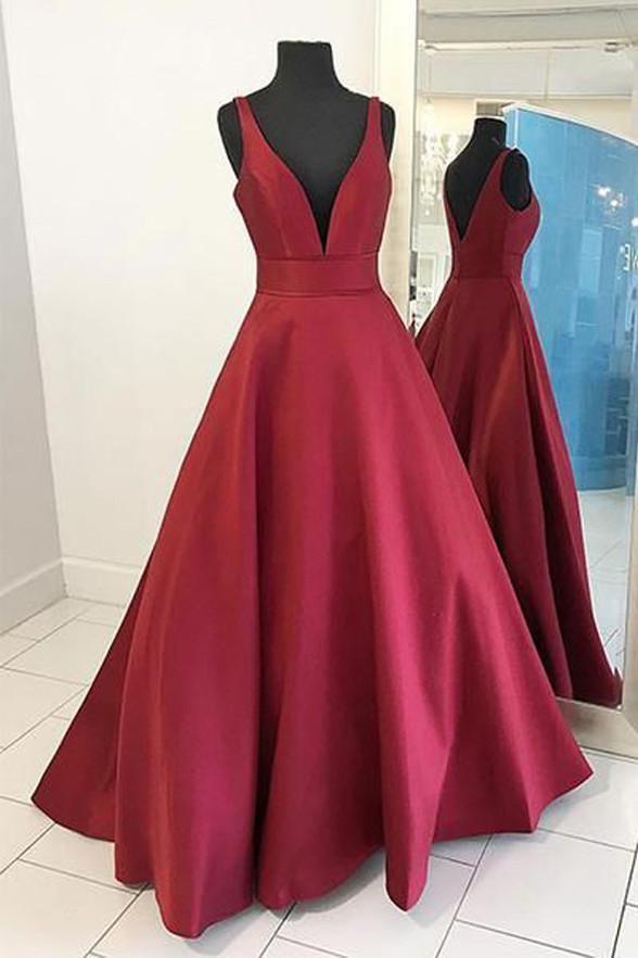 Dark Red Floor Length Satin Simple Long Prom Dress, V Back Floor Length Evening