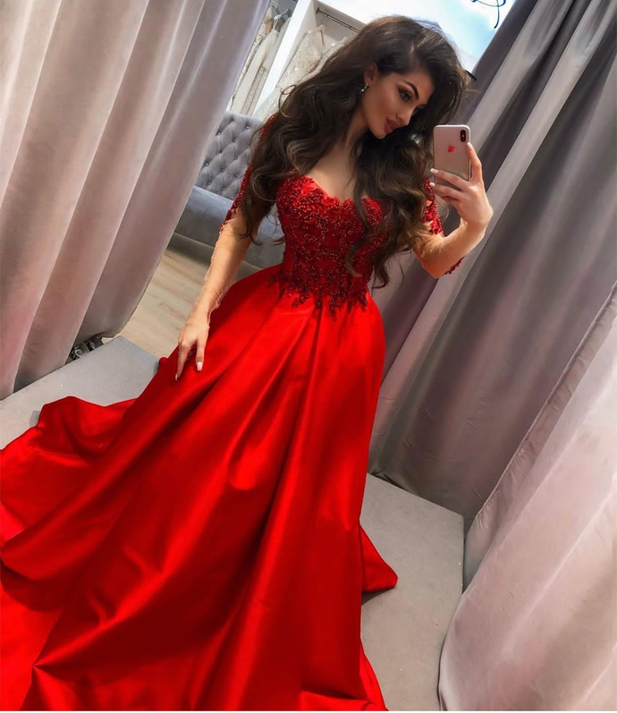 Red Satin Lace Appliques Women Formal Party Gowns, Off Shoulder Sweep Train