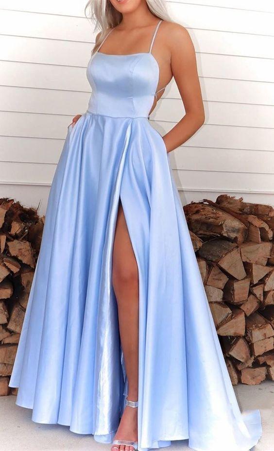 A-Line Spaghetti Straps Blue Satin Prom Dress M8847