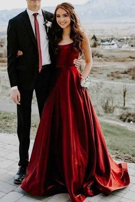 Elegant A Line Red Spaghetti Straps Satin Prom Dresses with Pockets M8850