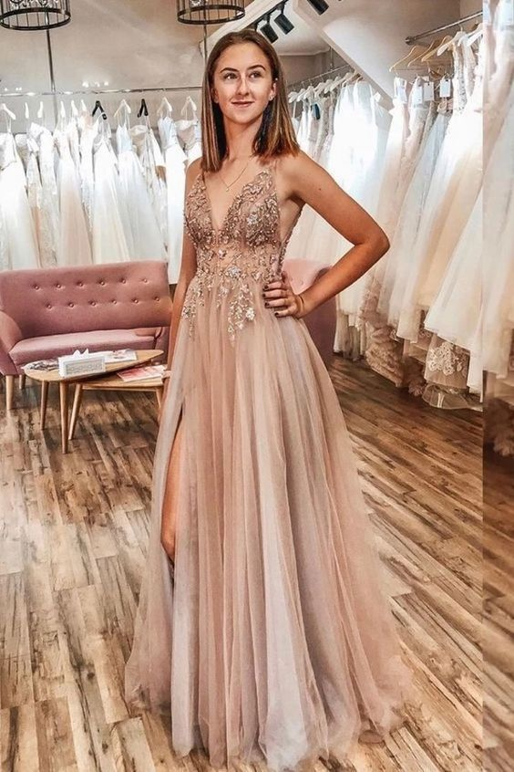 Spaghetti Straps V-neck Sheer Top Sexy Long Prom Dresses with Side Slit M8852