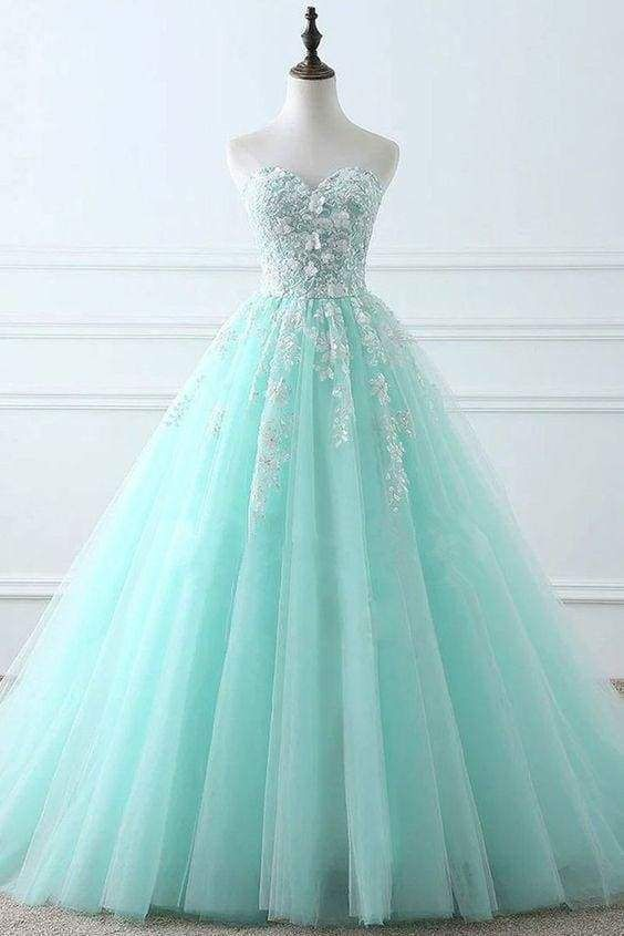 Tiffany Blue Sweetheart Puffy Tulle Prom with Lace Appliques Long Graduation