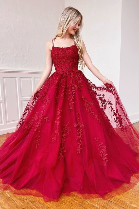 Red Straps Long Prom Dress with Lace Appliques M8855