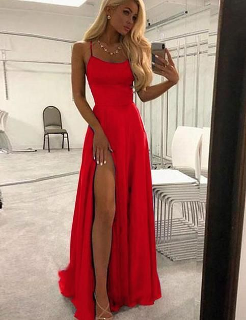 Simple Red Long Prom Dress With Split M8858