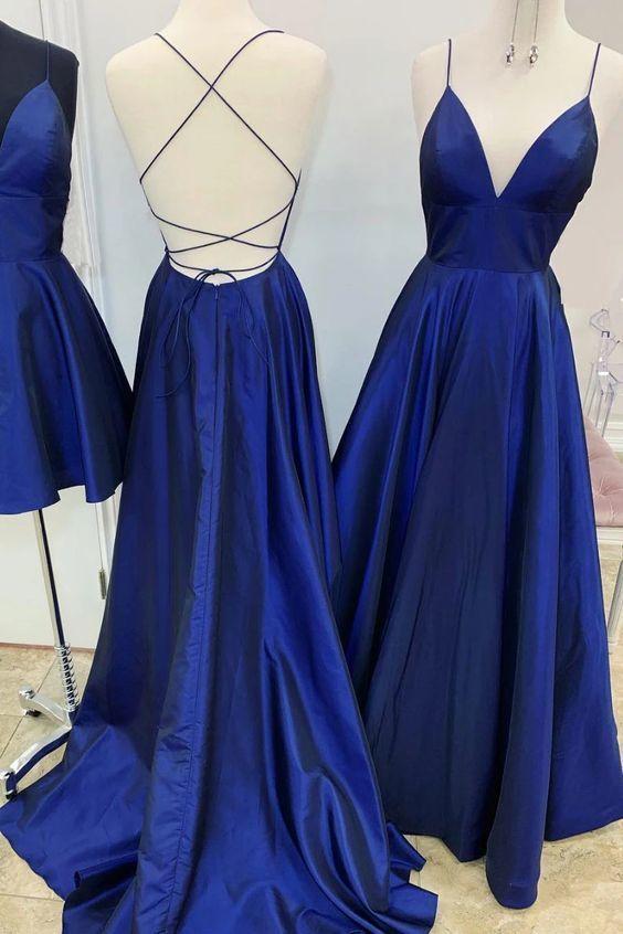 Simple Royal Blue V Neck Prom Dress , Satin Open Back Prom Dress  M8859