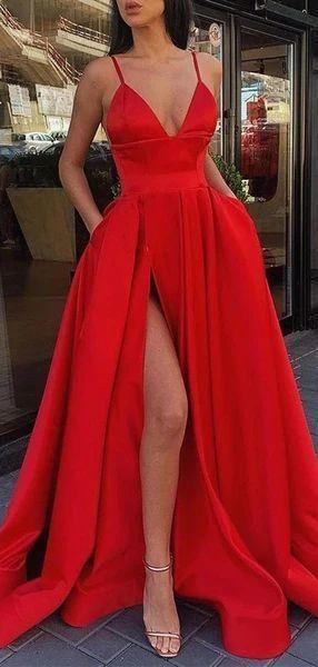 Simple Sexy Spaghetti Straps Side Slit Evening Prom Dresses M8864