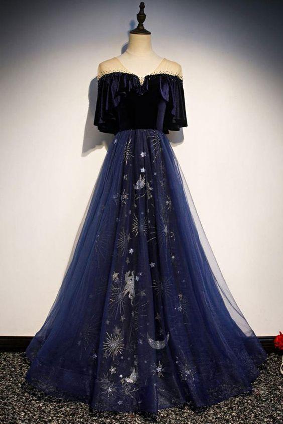 Pretty Navy Blue A-line Tulle Sparkly V-neck Floor Length Prom Dresses M8867