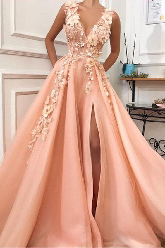 Charming V neck Long Prom Dress,Tulle Evening Party Dress with Flower  M8868