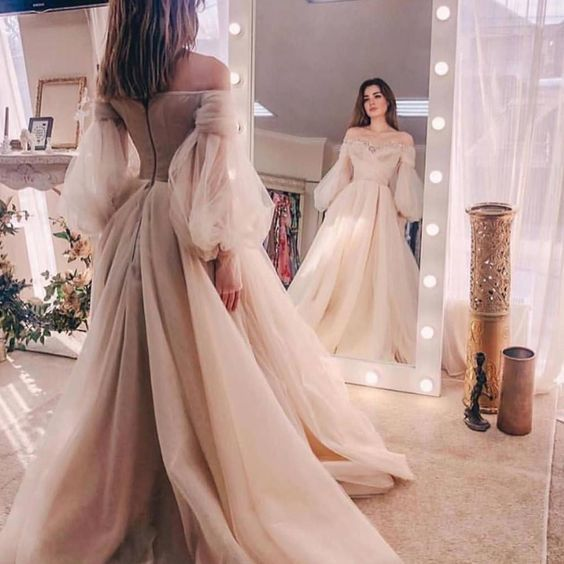 Champagne long sleeve a line tulle off the shoulder prom dresses M8869